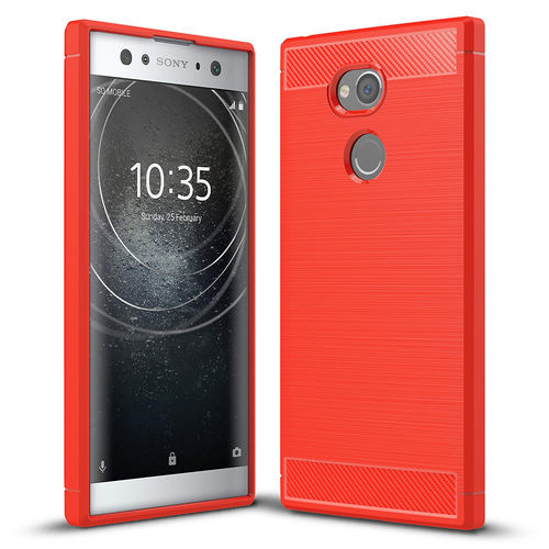 Flexi Slim Carbon Fibre Case for Sony Xperia XA2 Ultra - Brushed Red